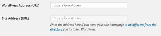 site address wordpress settings