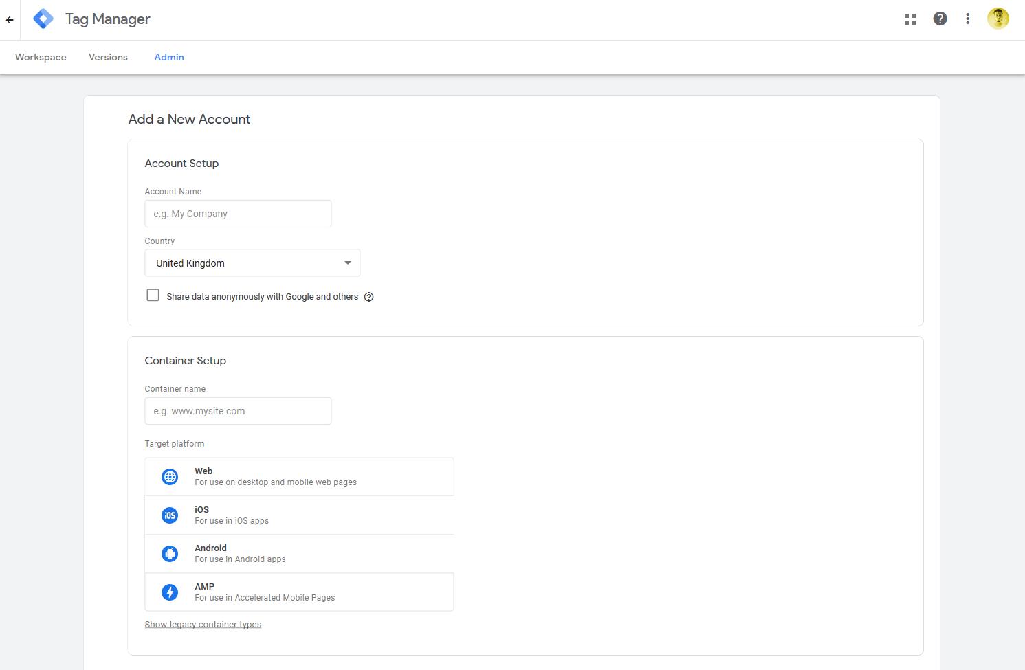 Google Tag Manager setup